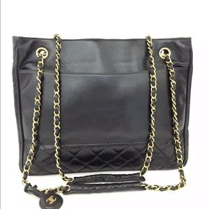 🔴↗️Chanel leather tote shopper bag